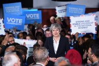 Prime Minister Theresa May of Britain at a campaign rally in Bradford, England, on Monday. Credit Oli Scarff/Agence France-Presse — Getty Images
