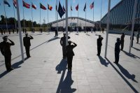 The dedication ceremony of the new NATO headquarters in Brussels last week. Credit Stephen Crowley/The New York Times
