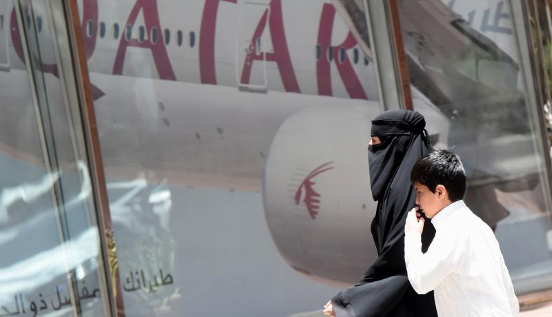 A Qatar Airways storefront in Riyadh. Photo: Getty Images.