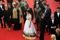 Miri Regev, Israel's minister of culture and sport, wearing a dress featuring the old city of Jerusalem at the Cannes Film Festival last month. Credit Antonin Thuillier/Agence France-Presse — Getty Images