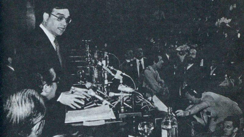 El ministro de Gobernación, Martín Villa, durante la rueda de prensa celebrada en el palacio de Congresos el 16 de junio. Sólo se dieron resultados muy parciales de las elecciones