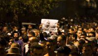 Protestors hold a picture of protest leader Nasser Zefzafi in Al Hoceima. Photo: Getty Images