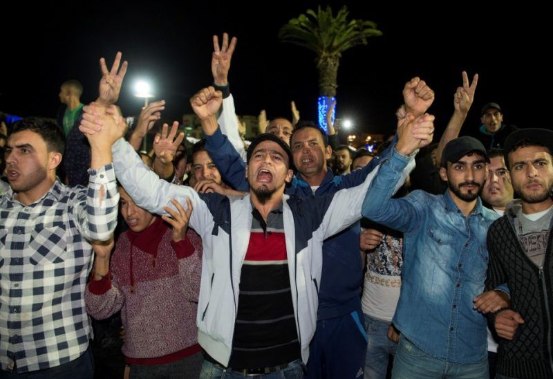 Protesters gesture and shout slogans in the northern Moroccan city of Al Hoceima on Oct. 30. (Fadel Senna/Agence France-Presse via Getty Images)