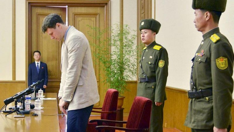 Otto Frederick Warmbier, who had been detained in North Korea since early January, attends a news conference in Pyongyang, in a photo released by Kyodo on 29 February 2016. REUTERS/Kyodo