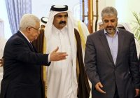 From left, President Mahmoud Abbas of the Palestinian Authority; Sheikh Khalifa bin Hamad al-Thani, then-emir of Qatar; and Khaled Meshal, then-leader of Hamas in 2014. Credit Osama Faisal/Associated Press