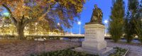 Statue of Jean-Jacques rousseau by night, Geneva, Switzerland. © 123rf