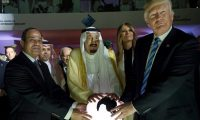 'We should not rebuild the Middle East on the foundations that generated terrorism.' Egyptian president Abdel Fatah al-Sisi, Saudi King Salman and Donald Trump in Riyadh, May 2017. Photograph: AP