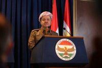 President of the Iraqi Kurdistan region Masoud Barzani attends a joint news conference in Irbil, the capital of the Kurdish autonomous region of northern Iraq, on Jan. 8. (Gailan Haji/European Pressphoto Agency)