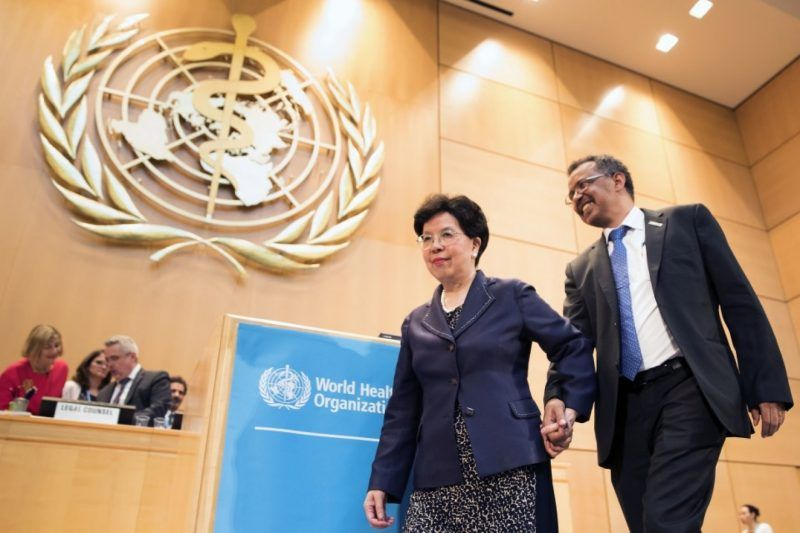 Outgoing director-general of the World Health Organization, Margaret Chan, walks with Tedros Adhanom Ghebreyesus from Ethiopia, the newly elected director-general, during the 70th World Health Assembly at the European headquarters of the United Nations in Geneva on May 23. (Valentin Flauraud/Keystone via Associated Press)