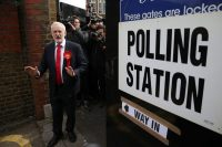 Jeremy Corbyn leaving a polling station after casting his vote in London on Thursday. Credit Daniel Leal-Olivas/Agence France-Presse — Getty Images