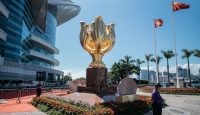 Golden Bauhinia Square prepares for the anniversary commemorations. Photo: Getty Images.