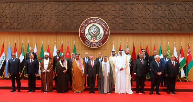 Arab leaders pose for a group photo during the 28th Ordinary Summit of the Arab League at the Dead Sea, Jordan, on March 29, 2017. (Mohammad Hamed/Reuters)