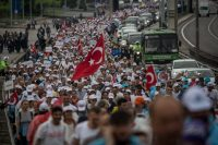 The 280-mile march for democracy and justice, near Izmit, Turkey, this month. Credit Chris McGrath/Getty Images