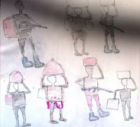 Dessin d'un enfant-soldat de la LRA âgé de 12 ans ©Enough Project
