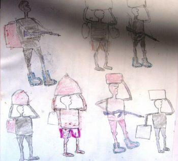 Dessin d'un enfant-soldat de la LRA âgé de 12 ans ©Enough Project
