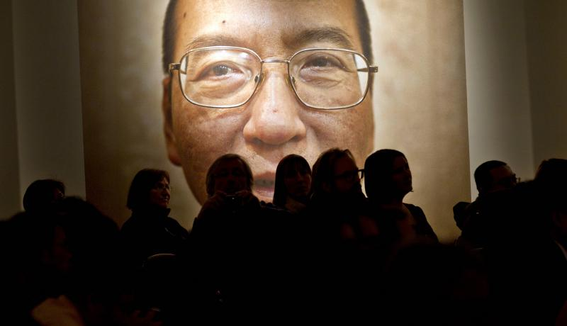 A picture of Liu Xiaobo inside the Nobel Peace Centre on the day of his Peace Prize ceremony, 10 December 2010. Photo: Getty Images.