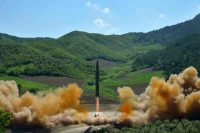 A photograph released by North Korea's official news agency on Tuesday that is said to show the intercontinental ballistic missile being launched. Credit Korean Central News Agency, via Associated Press