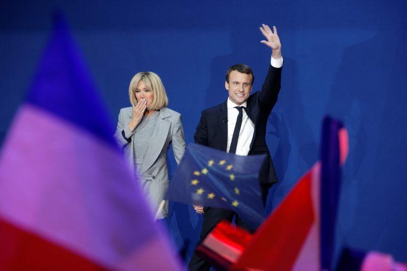 Sylvain Lefevre/Getty Images. French President Emmanuel Macron and his wife Brigitte Trogneux, Paris, April 23, 2017
