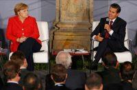 La canciller alemana Angela Merkel y el presidente mexicano Enrique Peña Nieto durante una reunión en Ciudad de México, el 10 de junio de 2017. Ambos líderes han abogado por los acuerdos contra el cambio climático. Credit Rebecca Blackwell / Associated Press