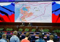 Russian military commanders at a briefing in June on the war in Syria. Credit Vadim Savitsky/Russian Armed Forces Press Office, via TASS, via Getty Images