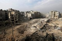 Democracy at what cost? The Ansari neighborhood in eastern Aleppo, Syria, in January. Credit Hassan Ammar/Associated Press