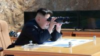 North Korean Leader Kim Jong Un looks on during the test-fire of inter-continental ballistic missile Hwasong-14 in this undated photo released by North Korea's Korean Central News Agency (KCNA) in Pyongyang, North Korea, on 4 July 2017. KCNA/via REUTERS