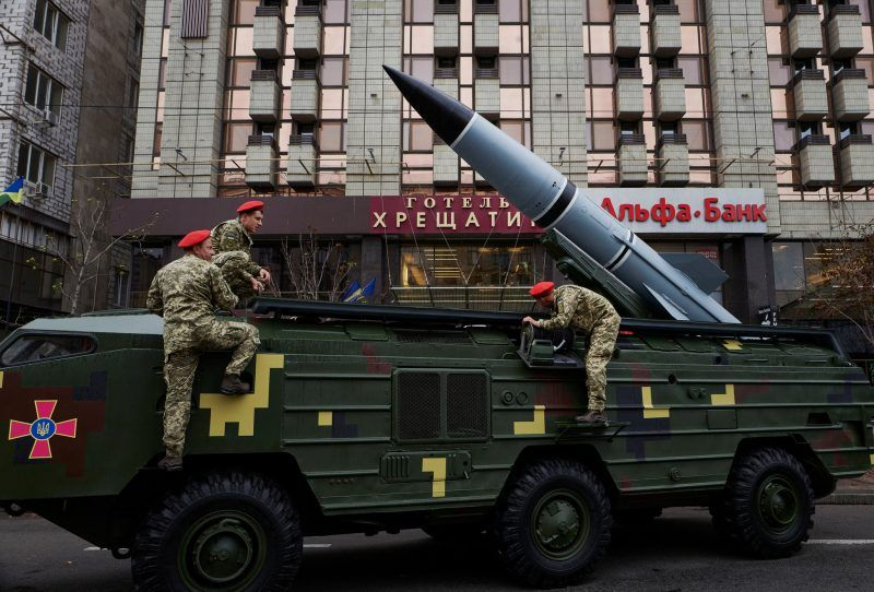 Ukraine's armed forces display military vehicles, tanks and missiles in Kiev on Tuesday. Credit Pierre Crom/Getty Images