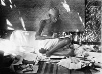 People in India still heap marigolds on images, like this, of Mahatma Gandhi. Credit Hulton-Deutsch Collection/Corbis, via Getty Images