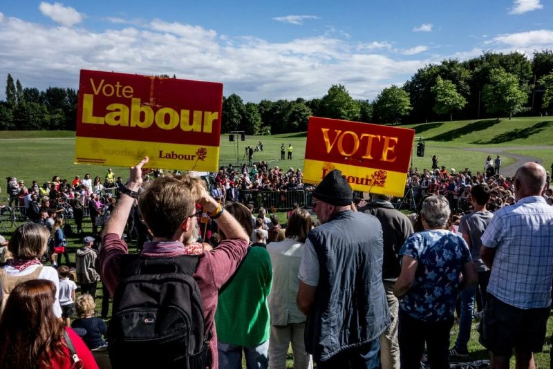 A crowd gathered to see Jeremy Corbyn at a Labour Party rally in July in Telford, England. Credit Jim Wood/Barcroft Media, via Getty Images