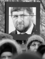 Supporters carry a portrait of Chechen President Ramzan Kadyrov during a rally in St. Petersburg, Russia, in February 2016. Credit NurPhoto/NurPhoto, via Getty Images