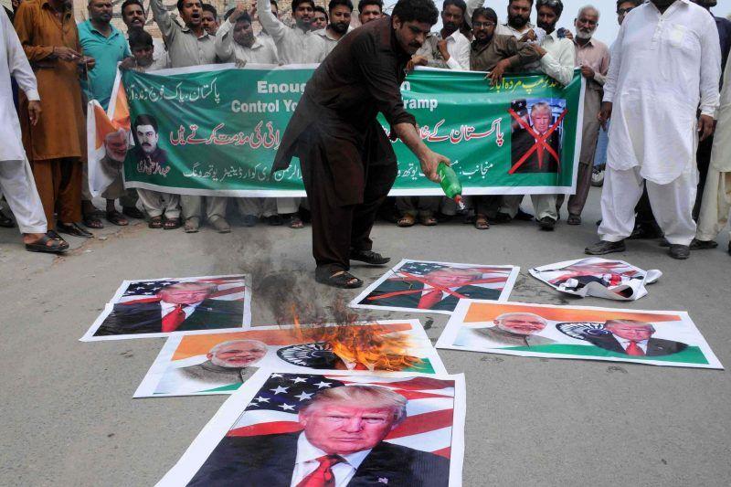 Protesting against President Trump and Prime Minister Narendra Modi of India, in Multan, Pakistan, this month. Credit Faisal Kareem/European Pressphoto Agency