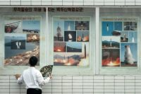 Photographs of missile launches and military exercises on public display last month in Pyongyang, North Korea. Credit Agence France-Presse — Getty Images