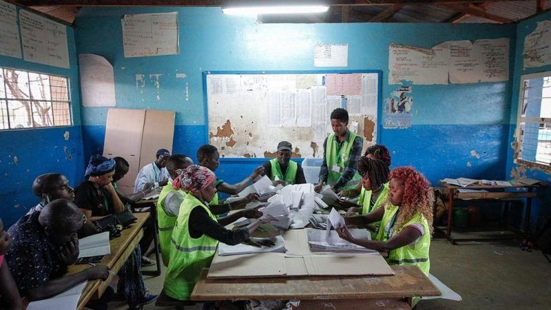 Polling station officials count the ballots at a polling station in Archers Post, Samburu County, in Kenya on 8 August 2017. AFP/Cyril Villemain