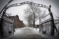 The entrance to the former Nazi concentration camp Auschwitz-Birkenau with the lettering 'Arbeit macht frei' ('Work makes you free') (Joel Saget/AFP/Getty Images)