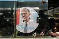 An image of Rwandan President Paul Kagame on the window of a bus, Kigali, Rwanda, July 30, 2017. Marco Longari/AFP/Getty Images.