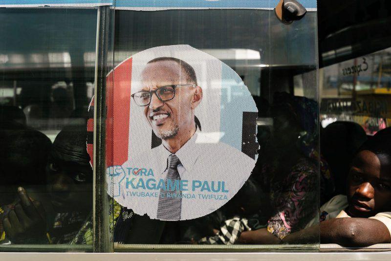 An image of Rwandan President Paul Kagame on the window of a bus, Kigali, Rwanda, July 30, 2017. Marco Longari/AFP/Getty Images.