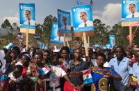 Supporters of President Paul Kagame of Rwanda at a political rally in the Burera district of Rwanda this week. Credit Clement Uwiringiyimana/Reuters
