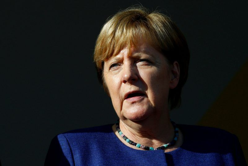Chancellor Angela Merkel of Germany at an election rally earlier this month. Credit Ralph Orlowski/Reuters