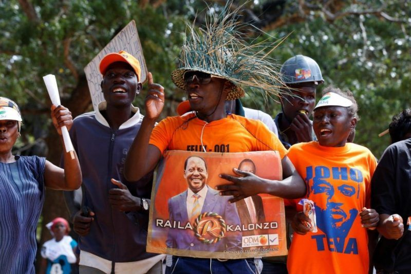 Supporters chant during a campaign rally by Kenyan opposition leader Raila Odinga, the presidential candidate of the National Super Alliance (NASA), in Mombasa, Kenya, on Aug. 4. (Siegfried Modola/Reuters)