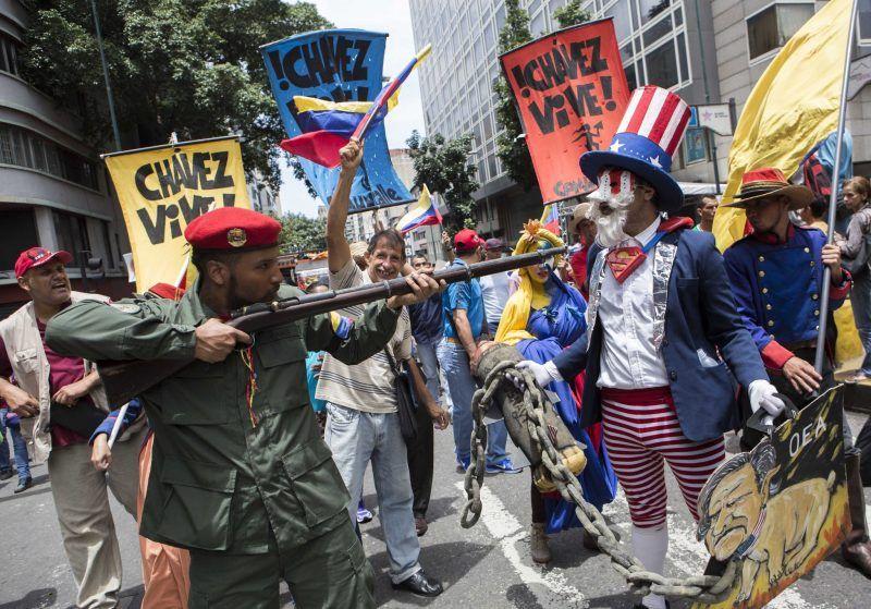 "A march on Monday in Caracas, Venezuela, organized in response to President Donald J. Trump's ""military option"" remark. Credit Nathalie Sayago/European Pressphoto Agency"