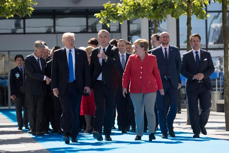 President Trump, front left, in May at the new NATO headquarters in Brussels, Belgium. Credit Stephen Crowley/The New York Times