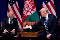 Brendan Smialowski/AFP/Getty Images. Afghanistan's President Ashraf Ghani and US President Donald Trump during the United Nations General Assembly, New York City, September 21, 2017