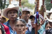Indigenous leaders stand in support of U.N. International Commission Against Impunity commissioner Iván Velásquez, outside the U.N. office in Guatemala City in August. (AP)