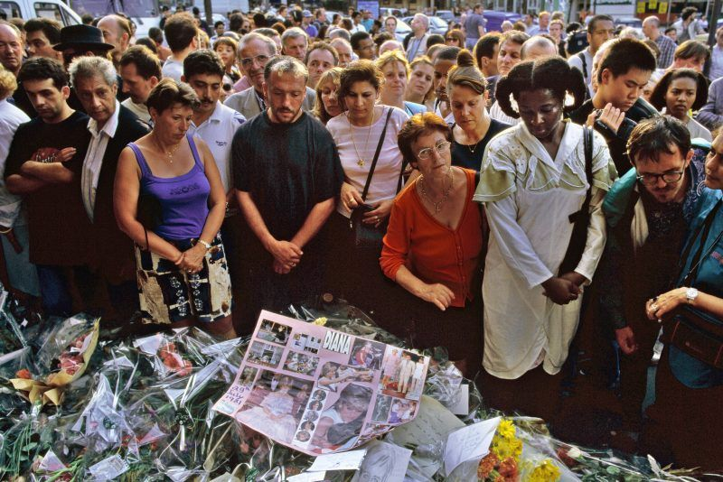 Mourners outside the hospital in Paris where Diana, Princess of Wales, was taken after her fatal car accident. Peter Turnley / Corbis, via Getty Images