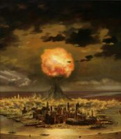 """Collection of the New-York Historical Society/Gift of Chesley Bonestell/Bridgeman Images. An illustration by Chesley Bonestell for """"Hiroshima, U.S.A."""" in Collier's, August 5, 1950"""