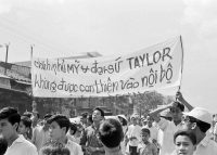 Students marching in an anti-American protest in South Vietnam, in 1965. Credit Associated Press
