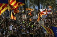 People gather on Sept. 21 in Barcelona to show support for holding an independence referendum. (Manu Fernandez/AP)