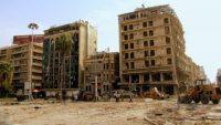 The scene at Saadallah Al-Jabiri Square in Aleppo after the attacks in 2012, attributed to Al-Nusra.