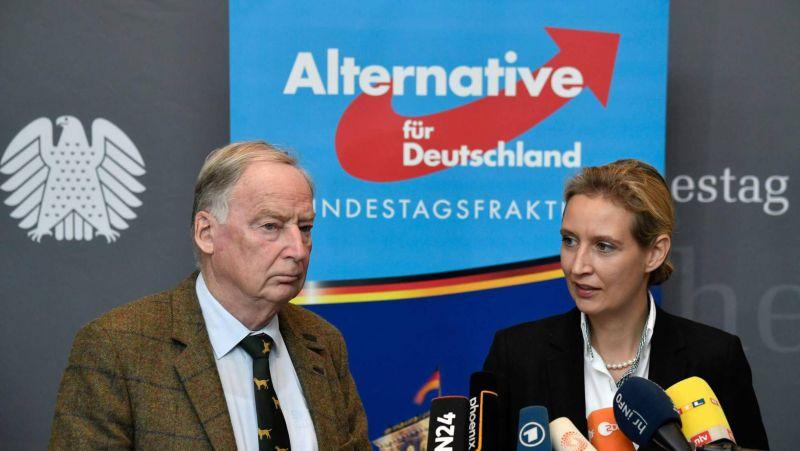 Alexander Gauland y Alice Weidel, líderes de Alternativa para Alemania (AfD), en septiembre en una declaración ante los medios. JOHN MACDOUGALL (AFP)