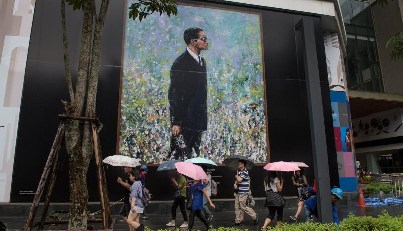 A portrait of the late King Bhumibol in Bangkok. Photo: Getty Images.